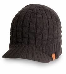 Fox knitted peaked black beanie one size fits all   extra voordeel, op=op