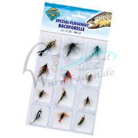 spezial fliegenset Bachforelle, 12 verschillende kunstvliegen