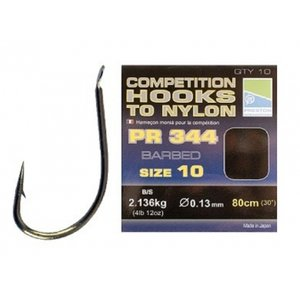 Competition hooks to nylon pr 344, size 12, 0,13mm, 80cm , barbed qty.10